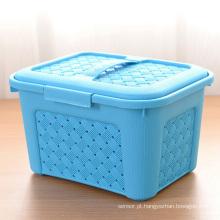 Colorful Weave Design Caixa de armazenamento de plástico com alça (SLSN024)