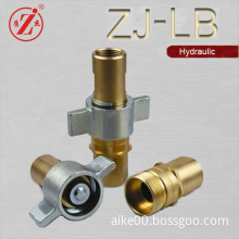 brass wing nut type truck and trailer coupler interchange QDs hydraulic quick release coupling