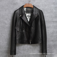 New Design Motorcycle Jacket Genuine Leather Short Jacket Women