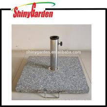 base de paraguas cuadrada de mármol para patio con asa lateral