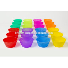 12pcs or 24pcs A Set Food Grade Colorful Home Baking DIY Tools Non-stick Heat Resistant Flexible Soft Silicone Mini Muffin Cups