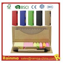 Bloc de notas de color Stickery con lápiz y regla