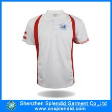 Camiseta blanca llana barata del polo de la impresión de los hombres para requisitos particulares para los deportes