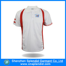 T-shirt blanc simple d'impression de Polo d'hommes faits sur commande bon marché pour des sports