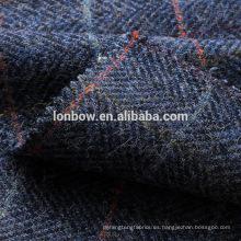 Blue check cordero lana tweed franela sombrero tela listo stock
