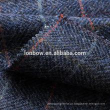 Blue cheque lambswool tweed tecido flanela chapéu pronto estoque