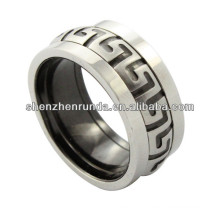 cheap wholesale ring, stainless steel ring with black symbol, men ring