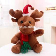 Jouets en peluche de renne de Noël de nouveaux jouets de peluche avec l'écharpe