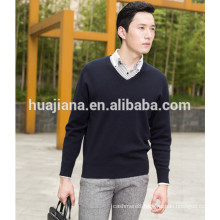 worsted cashmere knitting man's V neck sweater