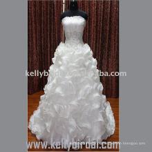 2012 Hot Style Strapless Ruffle Organza estilo europeu vestidos de noiva