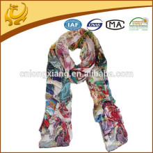 China Style 12mm Satin Atacado Lady Pure Silk Scarf com impressão digital