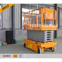 Elevador de tesoura hidráulico elétrico de 4 rodas