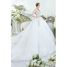 DS-10 Full Crystals Embroidered Bodice Bridal Wedding Party Gown 2015 Sleeveless Ball Gown Tulle Long Train wedding dress