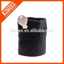 Terry algodón baratos de encargo al por mayor negro pulsera cremallera sweatbands