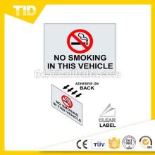 No fumar en esta etiqueta de vehículo, etiqueta reflectante