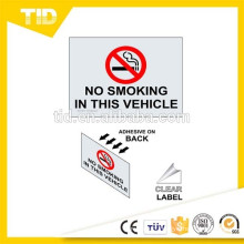 No Smoking In This Vehicle Label, reflective label
