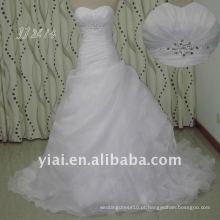 JJ2613 cristal Ruffle organza saia vestidos de casamento estilo country