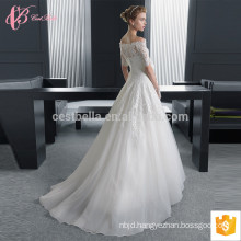 Short sleeve slim fit chapel train lace applique ball gown alibaba wedding dress