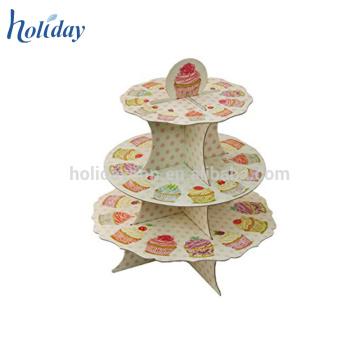 Suporte de bolo de 3 níveis de deslocamento, Carrinho de bolo de papelão, Mesa de pé de bolo