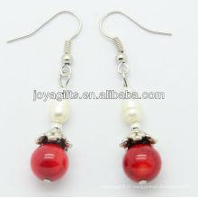Vente en gros de corail rouge avec boucles d'oreilles en perle d'eau douce