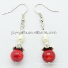 Wholesale red coral with fresh water pearl earring