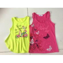 Moda roupas infantis em menina sem mangas t-shirt colete (sv-021-026)