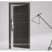 Flush wood door design with aluminum strips decoration