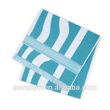 special blue and red color stripe soft textile with tassels Beach Towel BT-118