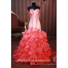 En el vestido sin mangas SE91 del baile de fin de curso de la falda llena de las mujeres rojas del vestido de partido de la flor del cordón rojo