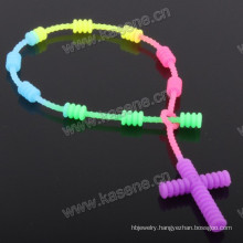 Rainbow Color Cord Rosary Bracelet/6mm Multicolored Plastic Rubber Bead Religious