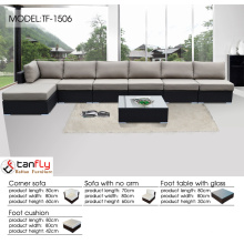 7pc modern outdoor backyard wicker patio furniture sofa sectional couch set.