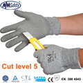 NMSAFETY new 13 gauge pu coated cutting glove/cut resistant glove/level 5 cut gloves