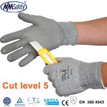 NMSAFETY novo 13 gauge pu luva de corte revestido / luva resistente ao corte / nível 5 luvas de corte
