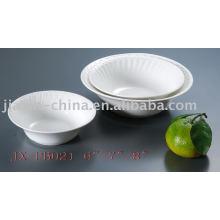 Vajilla de porcelana de forma redonda de color blanco JX-PB021
