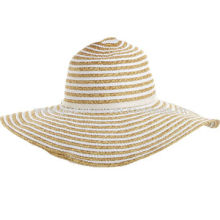 Women's floppy straw hat in two tone multi stripes, suitable for summer outingNew