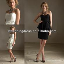 HB2030 Peplum OEM atacadista de qualidade superior elegante feito sob encomenda Duas peças de laço appique preto mais tamanho vestido de dama de honra