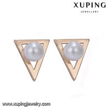 94668 New latest gold earring designs triangle shape simply style imitation pearl earrings