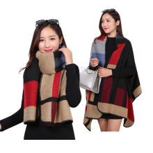 New style adies fall computer knitted plaid oversized poncho 2017 winter sleeve mexicano poncho