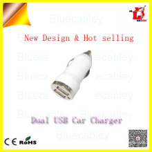 5V1A 2 port usb bullet car charger for mobile phone