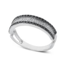 Prêmio de casamento de jóias com anel de prata e diamante preto e branco