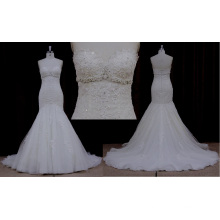 Factory Outlet Sweetheart Lace Applique Beaded Wedding Dress