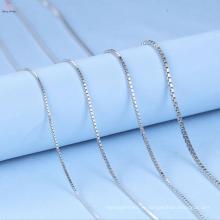 Пользовательские 1.5 мм Коробка стерлингового серебра 925 ожерелье цепь
