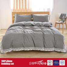 100% Bettwäsche Bettwäsche Set mit Stone Washing in grau, weiß, rosa Farbe