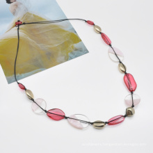 Custom rose red colorful long link chain epoxy resin transparent necklace