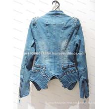 high fashion 2017 oem service zipper jeans jacket coat for women girls ladies custom made