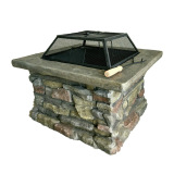"29"" Outdoor Patio Cast Stone Charcoal Grill fire pit, Backyard Square firewood burning BBQ brazier fire pit"