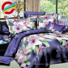 3d disperse style printed brushed bed sheet fabric set