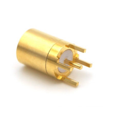 Brass / Gold Plated Smb Straight Connector / Rf Coax Pcb Mount Connector
