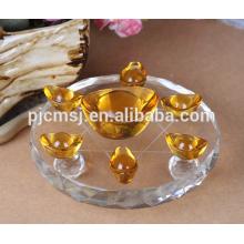 Presentes de fengshui cristal Lingote de ouro com base de cristal 7 estrelas