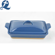 Factory direct Kitchen handle ceramic bakeware with lid